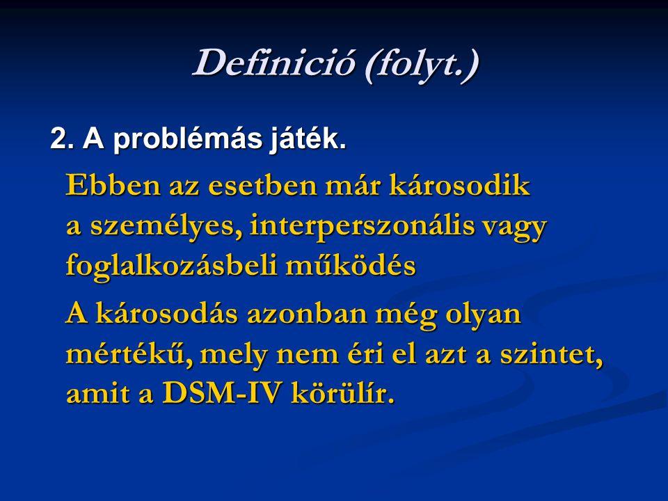 Definició (folyt.) 2. A problémás játék. 2. A problémás játék. Ebben az esetben már károsodik a személyes, interperszonális vagy foglalkozásbeli működ