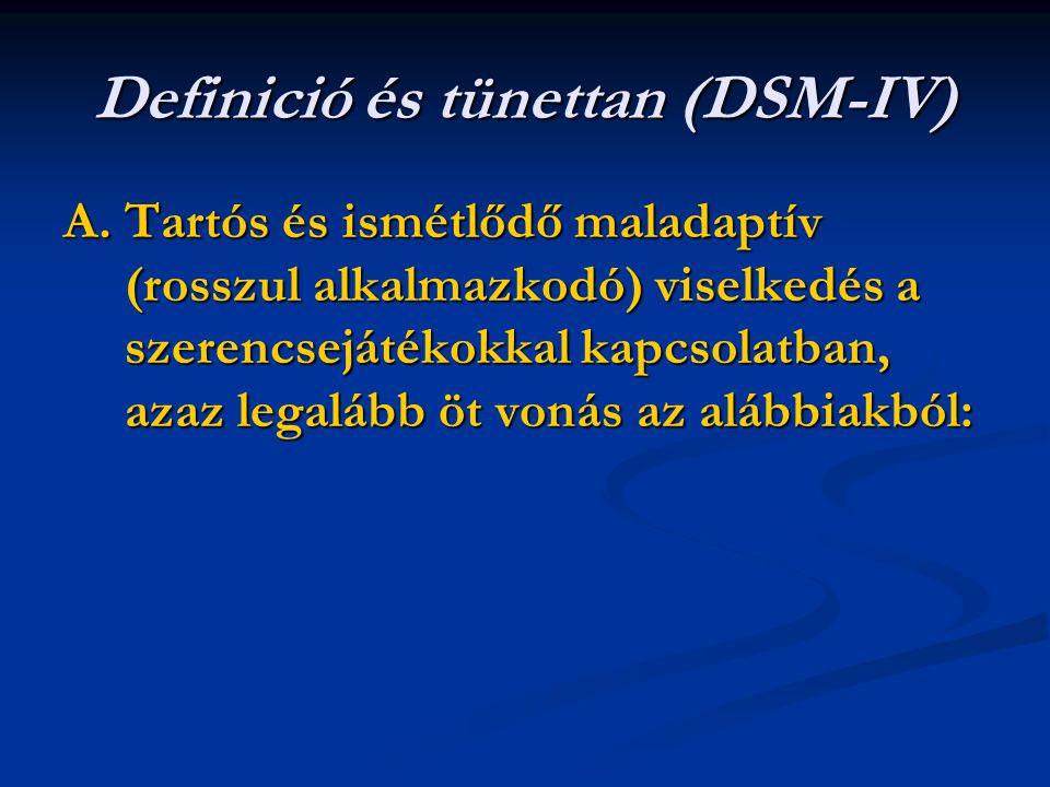Definició és tünettan (DSM-IV) A. Tartós és ismétlődő maladaptív (rosszul alkalmazkodó) viselkedés a szerencsejátékokkal kapcsolatban, azaz legalább ö