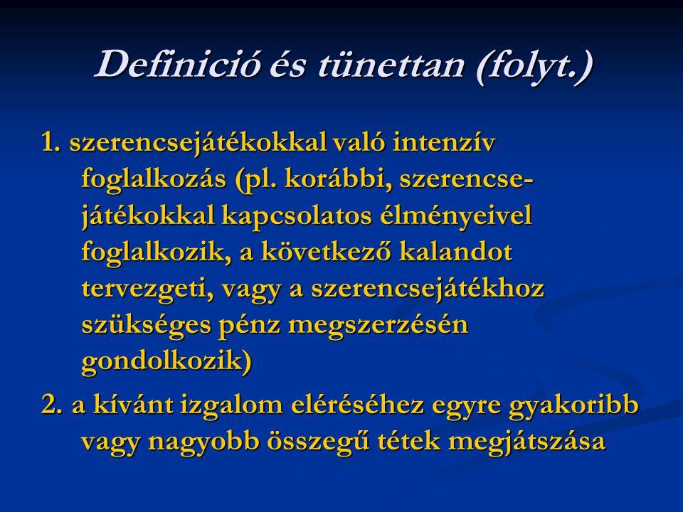 Definició és tünettan (folyt.) 1. szerencsejátékokkal való intenzív foglalkozás (pl. korábbi, szerencse- játékokkal kapcsolatos élményeivel foglalkozi