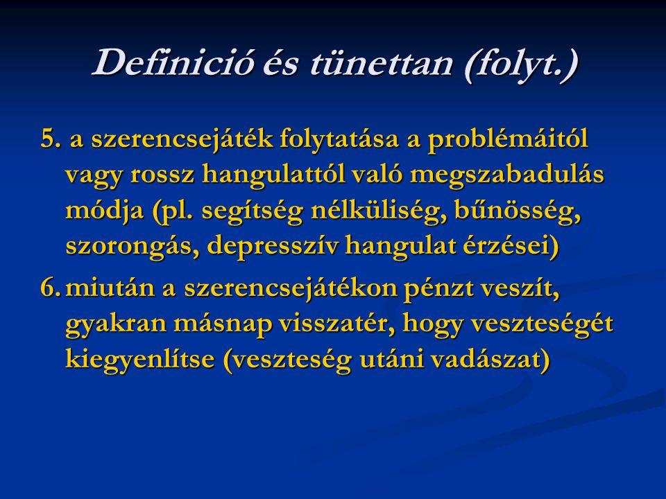 Definició és tünettan (folyt.) 5. a szerencsejáték folytatása a problémáitól vagy rossz hangulattól való megszabadulás módja (pl. segítség nélküliség,
