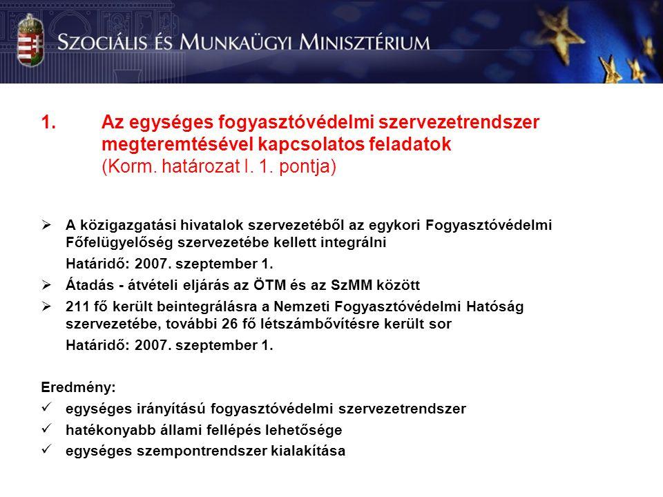 1.Az egységes fogyasztóvédelmi szervezetrendszer megteremtésével kapcsolatos feladatok (Korm.