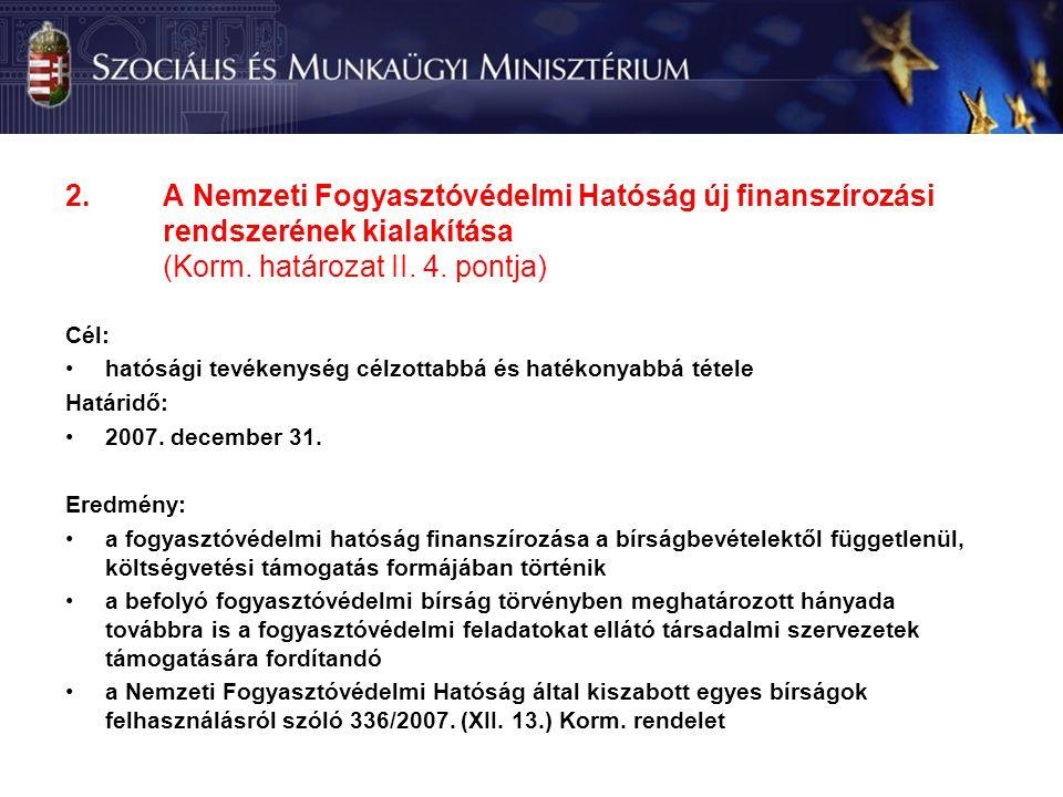 2.A Nemzeti Fogyasztóvédelmi Hatóság új finanszírozási rendszerének kialakítása (Korm.