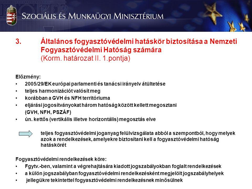 3.Általános fogyasztóvédelmi hatáskör biztosítása a Nemzeti Fogyasztóvédelmi Hatóság számára (Korm.