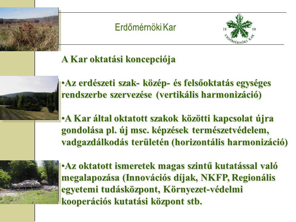 Erdőmérnöki Kar A Kar oktatási koncepciója Az erdészeti szak- közép- és felsőoktatás egységes rendszerbe szervezése (vertikális harmonizáció)Az erdészeti szak- közép- és felsőoktatás egységes rendszerbe szervezése (vertikális harmonizáció) A Kar által oktatott szakok közötti kapcsolat újra gondolása pl.
