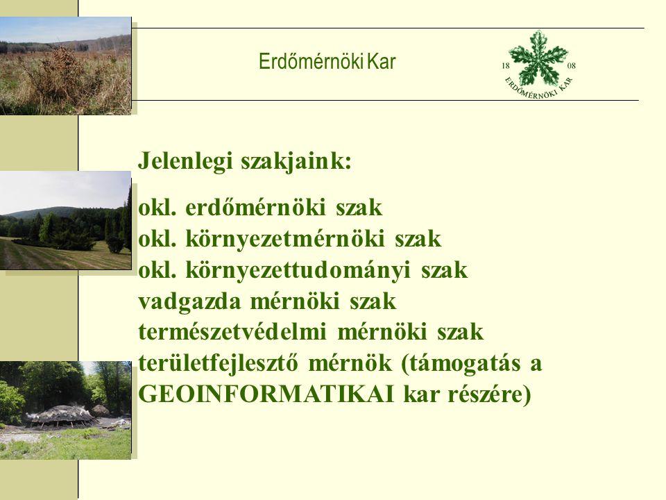 Erdőmérnöki Kar Jelenlegi szakjaink: okl. erdőmérnöki szak okl.