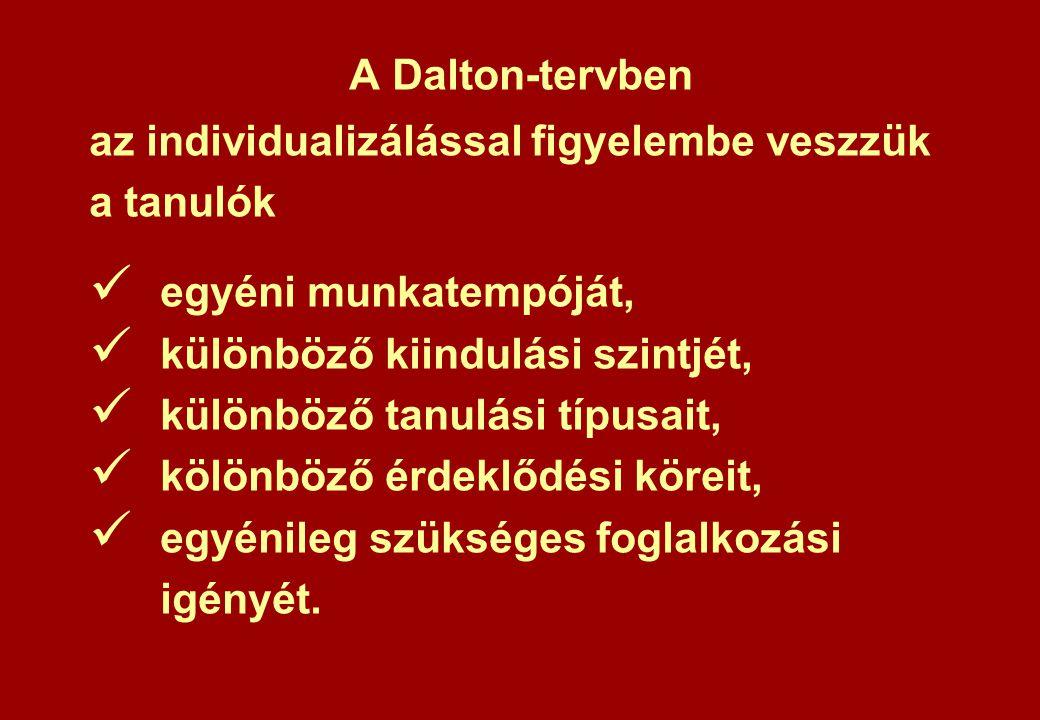 A Dalton-tervben az individualizálással figyelembe veszzük a tanulók egyéni munkatempóját, különböző kiindulási szintjét, különböző tanulási típusait, kölönböző érdeklődési köreit, egyénileg szükséges foglalkozási igényét.