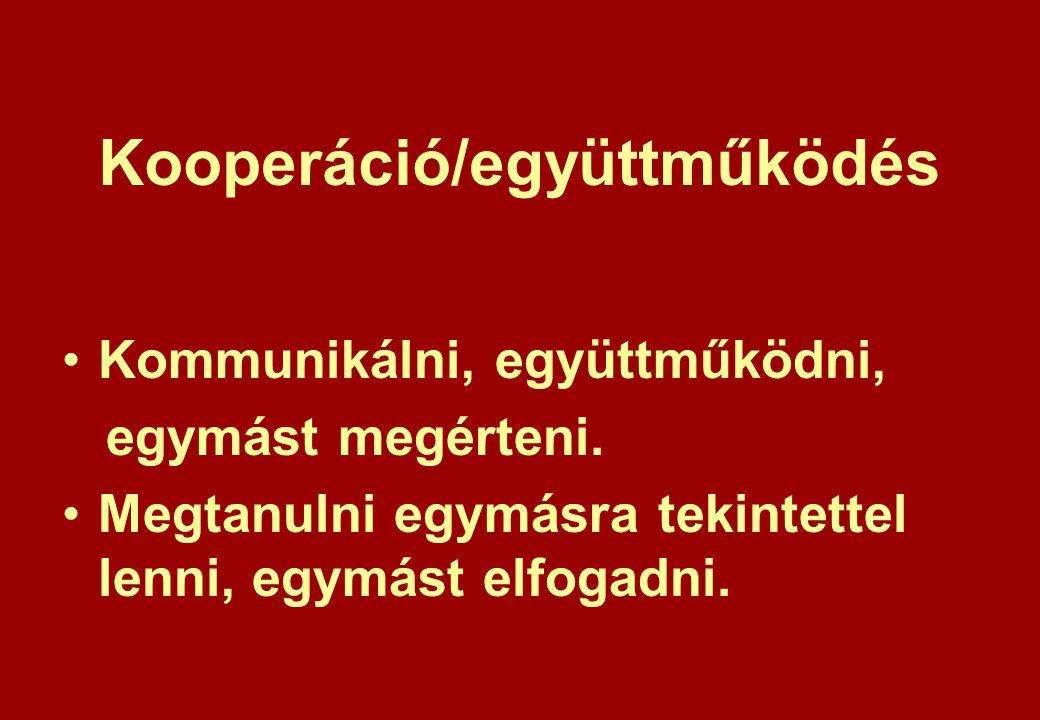 Kooperáció/együttműködés Kommunikálni, együttműködni, egymást megérteni.