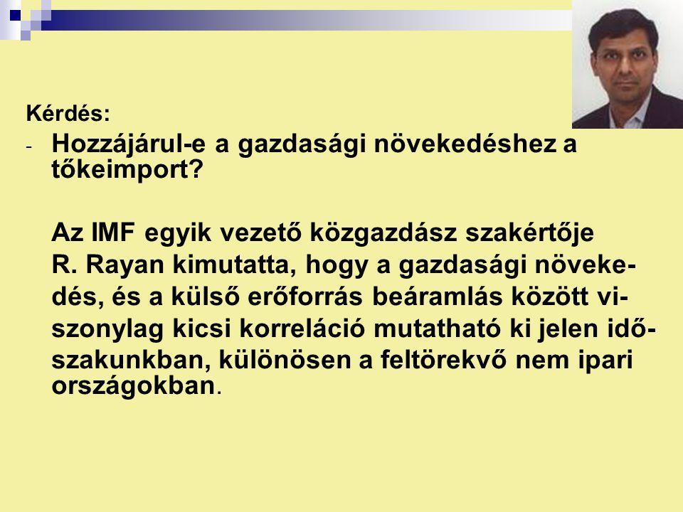 Kérdés: - Hozzájárul-e a gazdasági növekedéshez a tőkeimport? Az IMF egyik vezető közgazdász szakértője R. Rayan kimutatta, hogy a gazdasági növeke- d