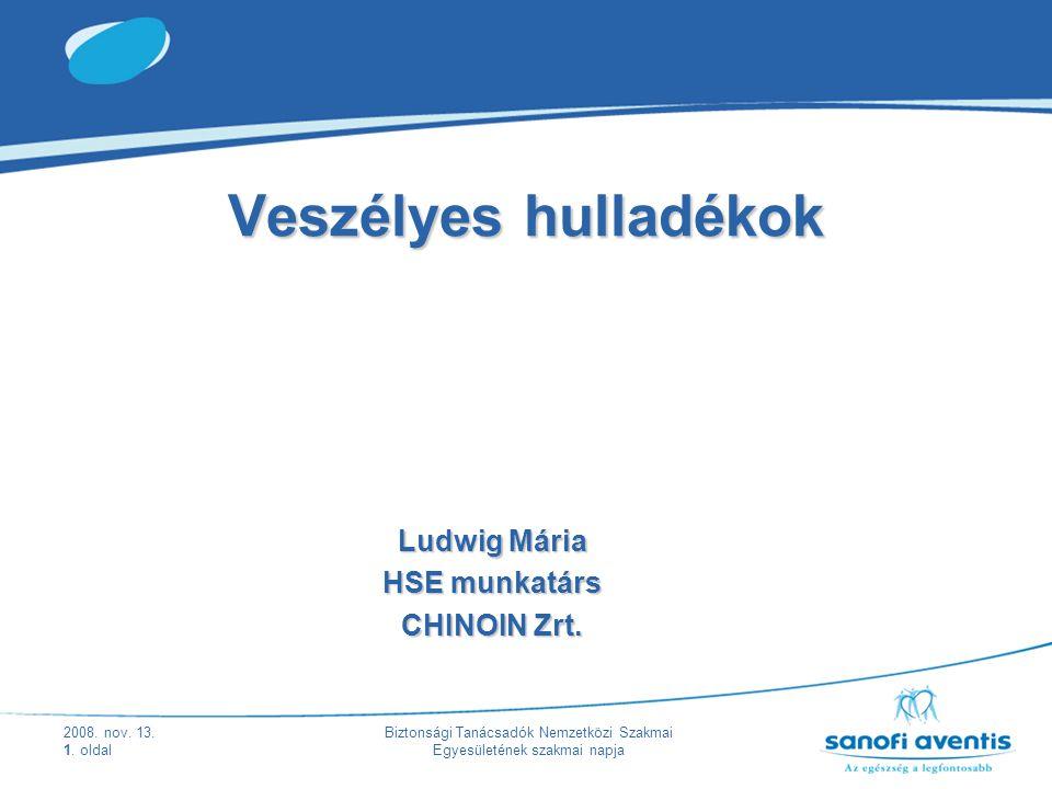 2008. nov. 13. 1. oldal Biztonsági Tanácsadók Nemzetközi Szakmai Egyesületének szakmai napja Veszélyes hulladékok Ludwig Mária HSE munkatárs CHINOIN Z