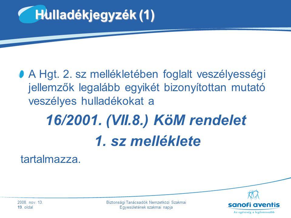2008. nov. 13. 19. oldal Biztonsági Tanácsadók Nemzetközi Szakmai Egyesületének szakmai napja Hulladékjegyzék (1) A Hgt. 2. sz mellékletében foglalt v