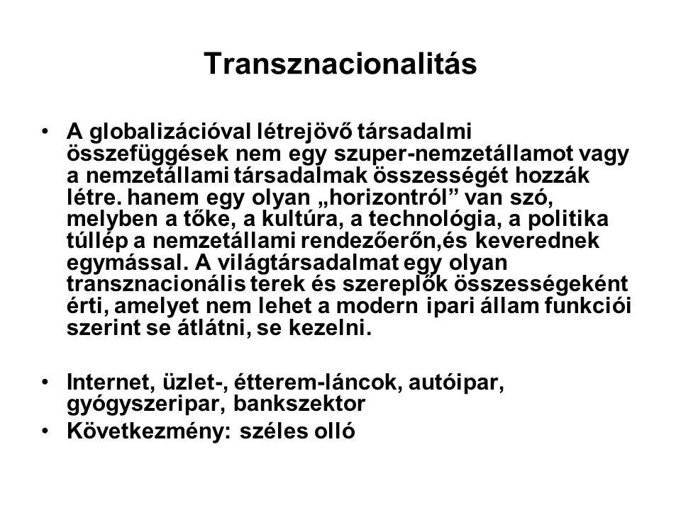 Transznacionalitás A globalizációval létrejövő társadalmi összefüggések nem egy szuper-nemzetállamot vagy a nemzetállami társadalmak összességét hozzák létre.