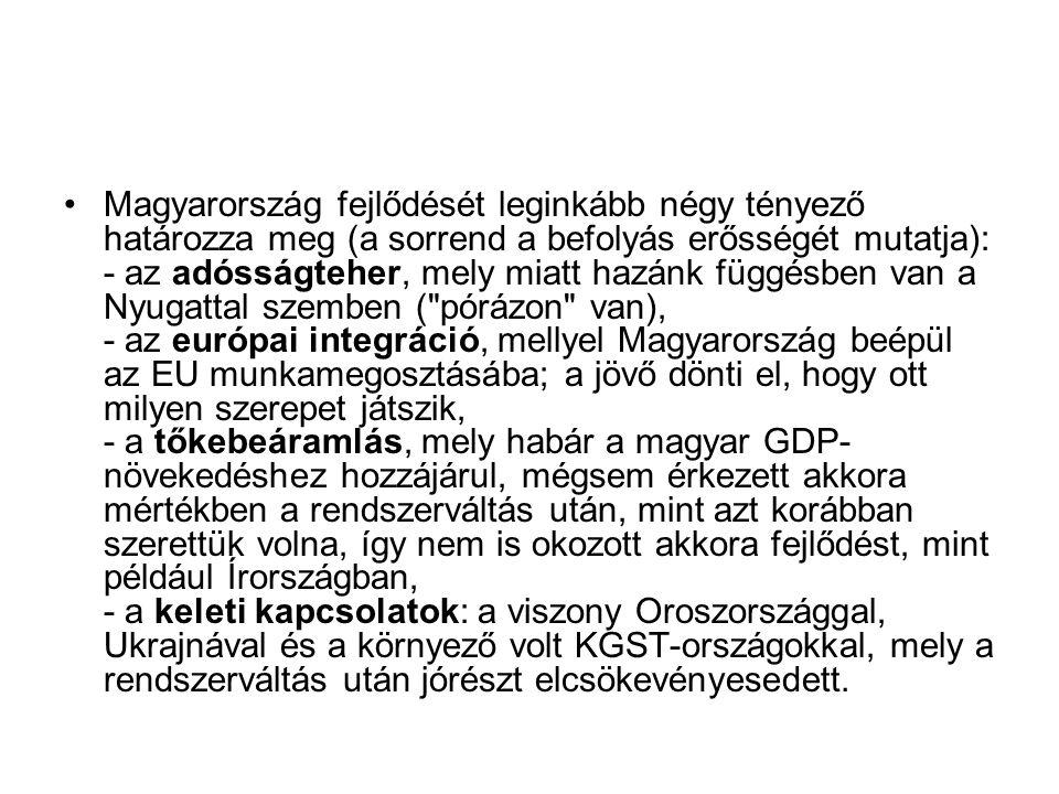Magyarország fejlődését leginkább négy tényező határozza meg (a sorrend a befolyás erősségét mutatja): - az adósságteher, mely miatt hazánk függésben van a Nyugattal szemben ( pórázon van), - az európai integráció, mellyel Magyarország beépül az EU munkamegosztásába; a jövő dönti el, hogy ott milyen szerepet játszik, - a tőkebeáramlás, mely habár a magyar GDP- növekedéshez hozzájárul, mégsem érkezett akkora mértékben a rendszerváltás után, mint azt korábban szerettük volna, így nem is okozott akkora fejlődést, mint például Írországban, - a keleti kapcsolatok: a viszony Oroszországgal, Ukrajnával és a környező volt KGST-országokkal, mely a rendszerváltás után jórészt elcsökevényesedett.