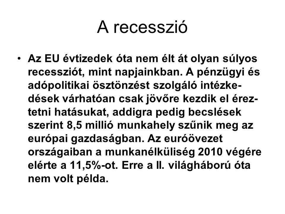 A recesszió Az EU évtizedek óta nem élt át olyan súlyos recessziót, mint napjainkban.
