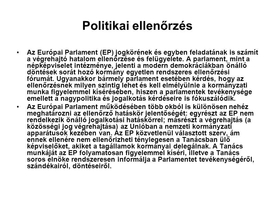 Politikai ellenőrzés Az Európai Parlament (EP) jogkörének és egyben feladatának is számít a végrehajtó hatalom ellenőrzése és felügyelete.