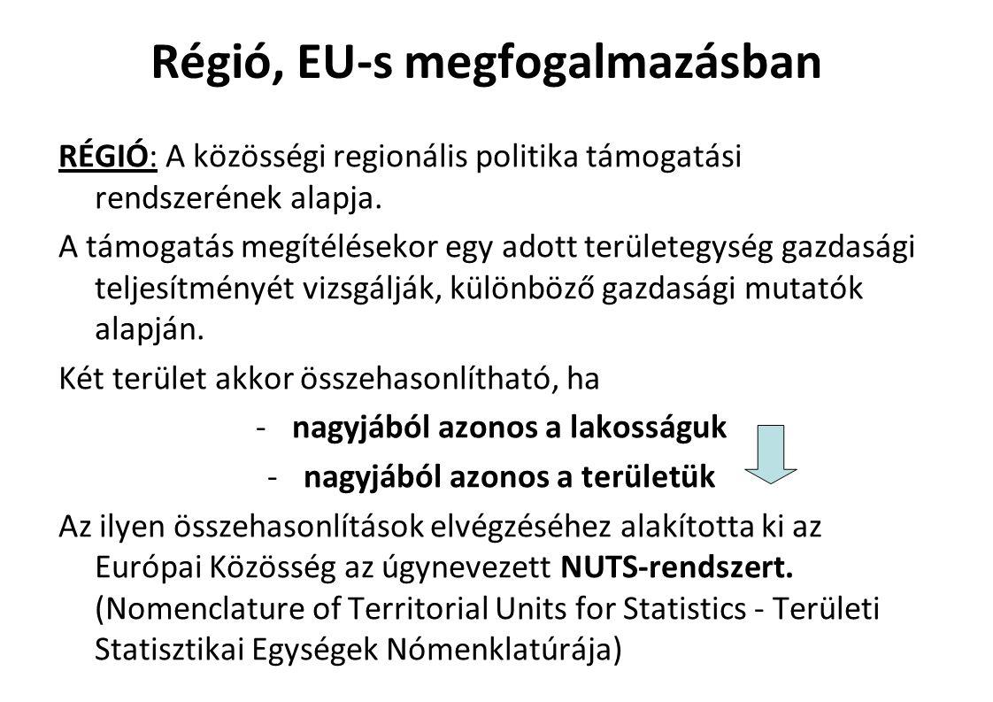 Régió, EU-s megfogalmazásban RÉGIÓ: A közösségi regionális politika támogatási rendszerének alapja.