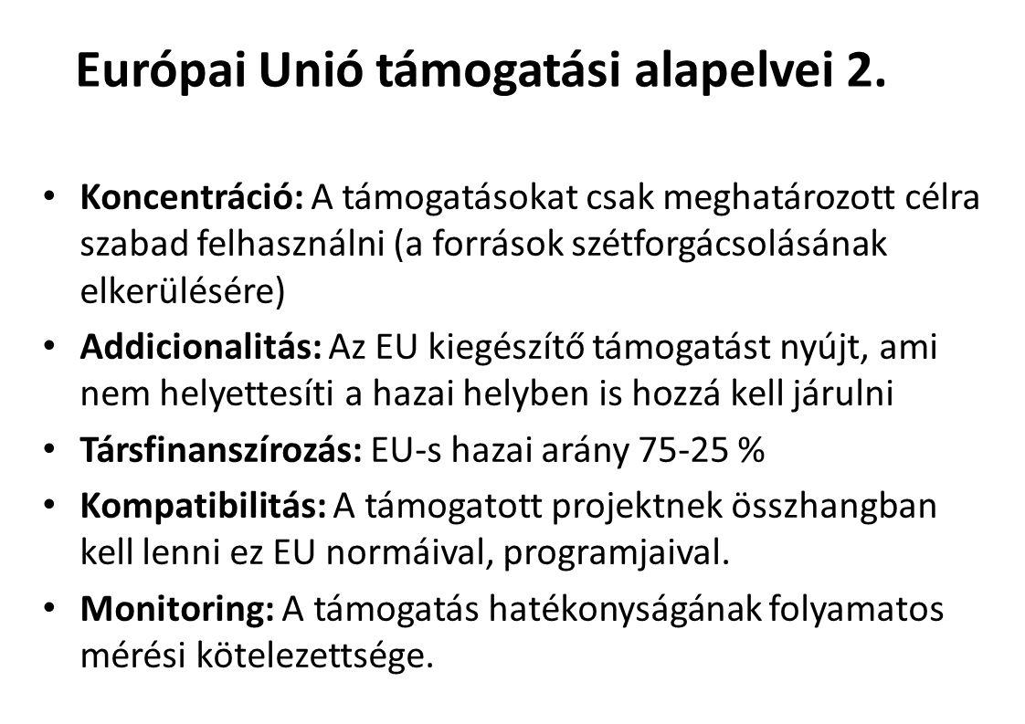 Koncentráció: A támogatásokat csak meghatározott célra szabad felhasználni(a források szétforgácsolásának elkerülésére) Addicionalitás: Az EU kiegészítő támogatást nyújt, ami nem helyettesíti a hazai helyben is hozzá kell járulni Társfinanszírozás: EU-s hazai arány 75-25 % Kompatibilitás: A támogatott projektnek összhangban kell lenni ez EU normáival, programjaival.