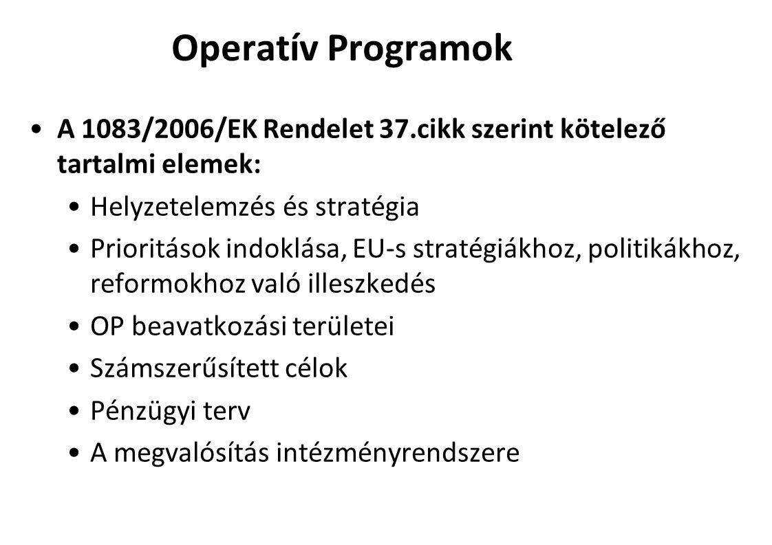 Operatív Programok A 1083/2006/EK Rendelet 37.cikk szerint kötelező tartalmi elemek: Helyzetelemzés és stratégia Prioritások indoklása, EU-s stratégiákhoz, politikákhoz, reformokhoz való illeszkedés OP beavatkozási területei Számszerűsített célok Pénzügyi terv A megvalósítás intézményrendszere