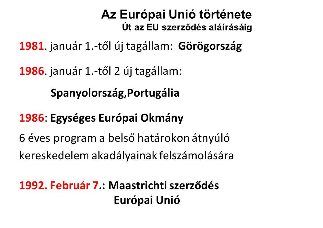 Az Európai Unió története Út az EU szerződés aláírásáig 1981.