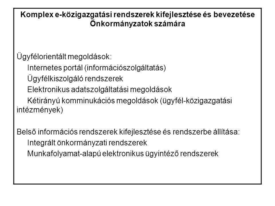 Komplex e-közigazgatási rendszerek kifejlesztése és bevezetése Önkormányzatok számára Ügyfélorientált megoldások: Internetes portál (információszolgáltatás) Ügyfélkiszolgáló rendszerek Elektronikus adatszolgáltatási megoldások Kétirányú komminukációs megoldások (ügyfél-közigazgatási intézmények) Belső információs rendszerek kifejlesztése és rendszerbe állítása: Integrált önkormányzati rendszerek Munkafolyamat-alapú elektronikus ügyintéző rendszerek