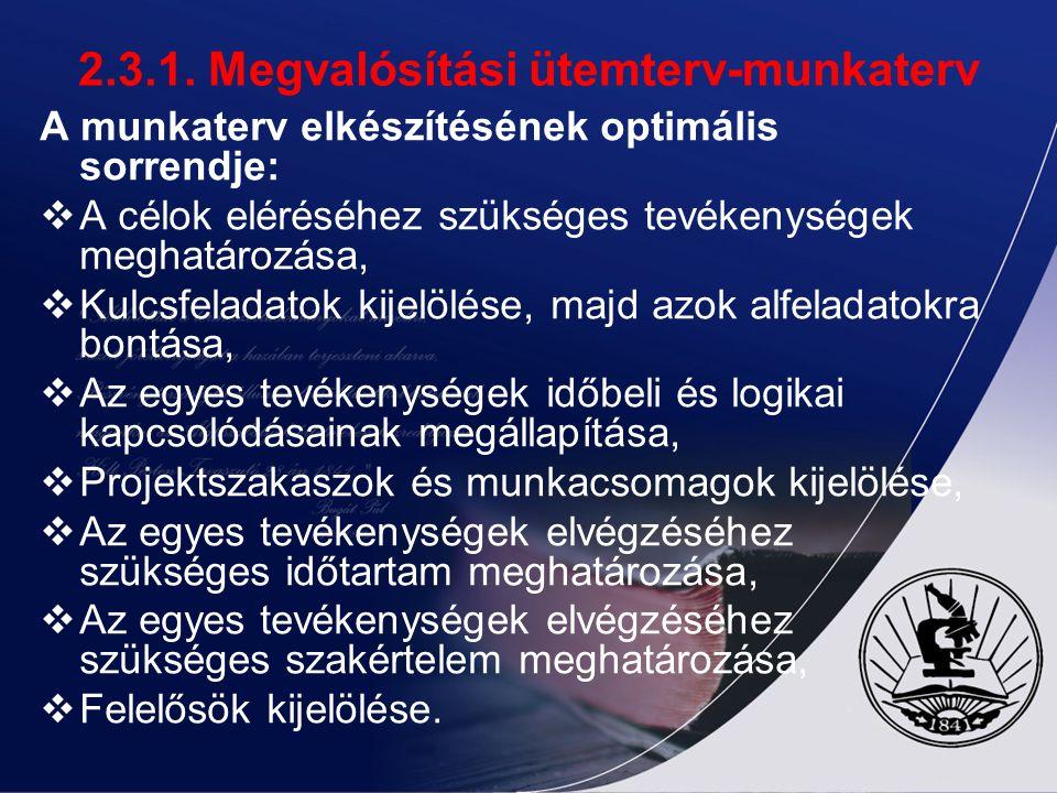 2.3.1. Megvalósítási ütemterv-munkaterv A munkaterv elkészítésének optimális sorrendje:  A célok eléréséhez szükséges tevékenységek meghatározása, 