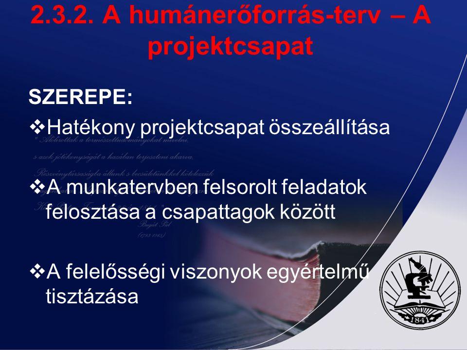 2.3.2. A humánerőforrás-terv – A projektcsapat SZEREPE:  Hatékony projektcsapat összeállítása  A munkatervben felsorolt feladatok felosztása a csapa