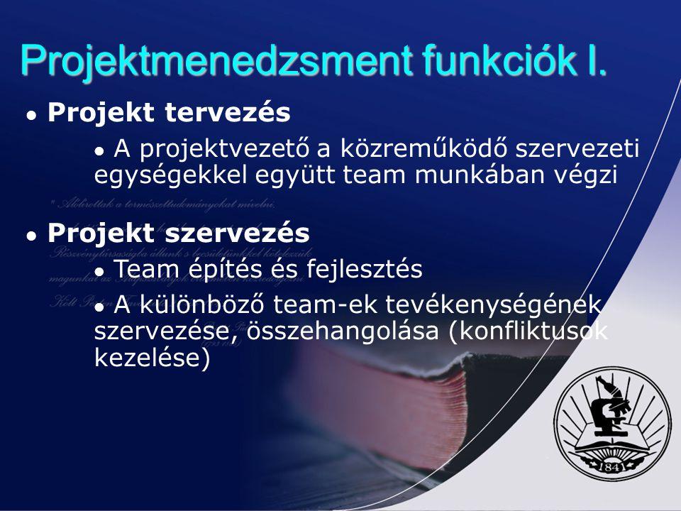 Projektmenedzsment funkciók I. Projekt tervezés A projektvezető a közreműködő szervezeti egységekkel együtt team munkában végzi Projekt szervezés Team