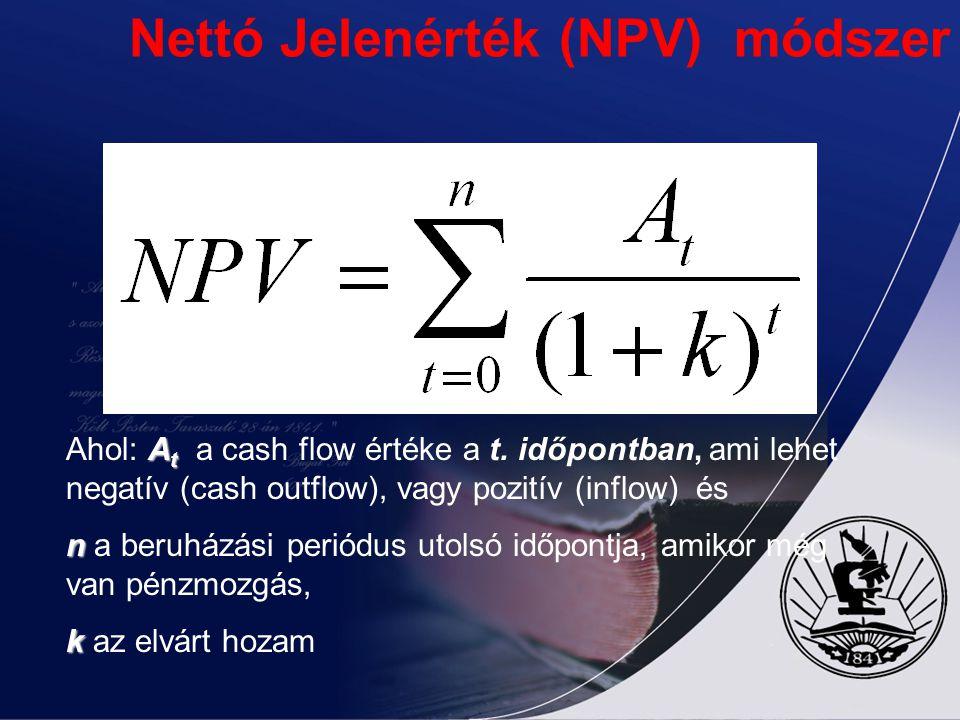 Nettó Jelenérték (NPV) módszer A t Ahol: A t a cash flow értéke a t. időpontban, ami lehet negatív (cash outflow), vagy pozitív (inflow) és n n a beru