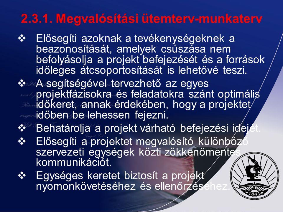 2.3.1. Megvalósítási ütemterv-munkaterv  Elősegíti azoknak a tevékenységeknek a beazonosítását, amelyek csúszása nem befolyásolja a projekt befejezés