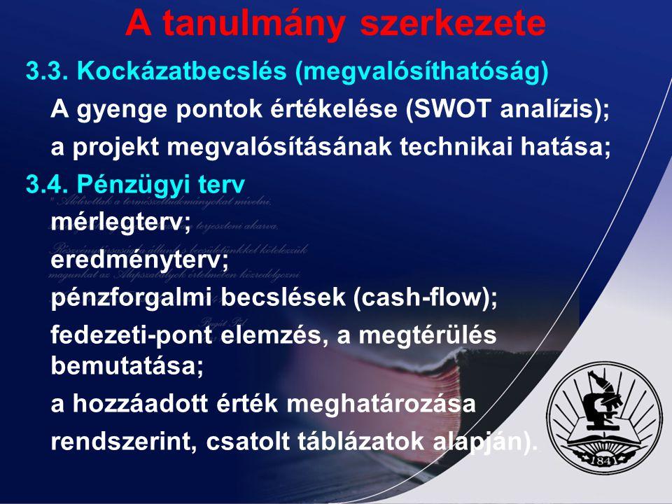 A tanulmány szerkezete 3.3. Kockázatbecslés (megvalósíthatóság) A gyenge pontok értékelése (SWOT analízis); a projekt megvalósításának technikai hatás