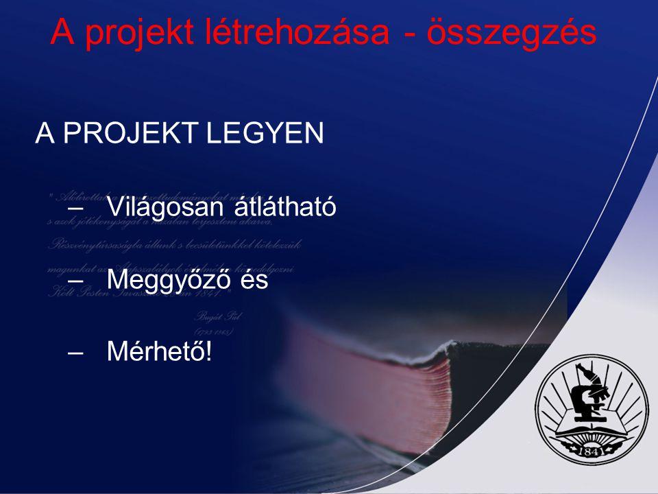 A projekt létrehozása - összegzés A PROJEKT LEGYEN –Világosan átlátható –Meggyőző és –Mérhető!