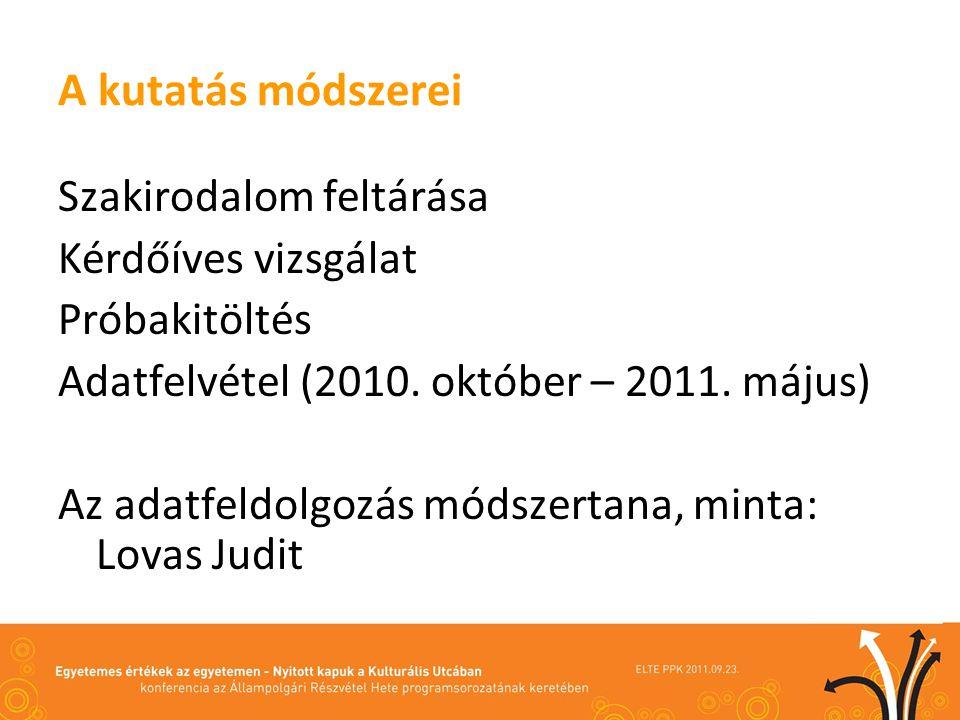 A kutatás módszerei Szakirodalom feltárása Kérdőíves vizsgálat Próbakitöltés Adatfelvétel (2010.