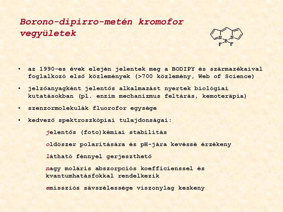 az 1990-es évek elején jelentek meg a BODIPY és származékaival foglalkozó első közlemények (>700 közlemény, Web of Science) jelzőanyagként jelentős alkalmazást nyertek biológiai kutatásokban (pl.
