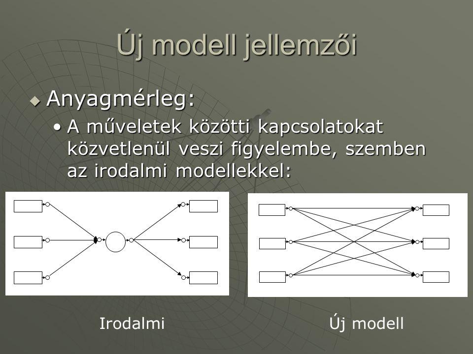 Új modell jellemzői  Anyagmérleg: A műveletek közötti kapcsolatokat közvetlenül veszi figyelembe, szemben az irodalmi modellekkel:A műveletek közötti