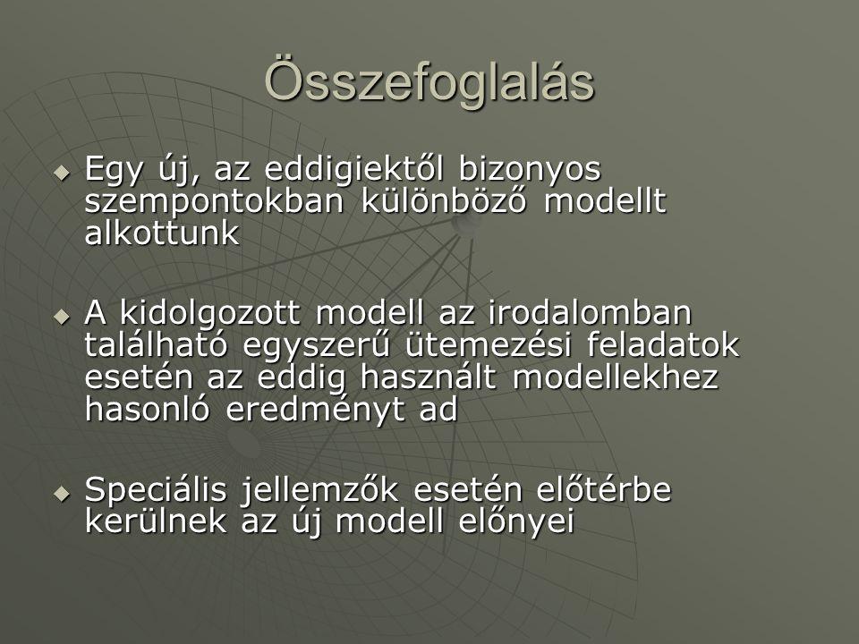 Összefoglalás  Egy új, az eddigiektől bizonyos szempontokban különböző modellt alkottunk  A kidolgozott modell az irodalomban található egyszerű ütemezési feladatok esetén az eddig használt modellekhez hasonló eredményt ad  Speciális jellemzők esetén előtérbe kerülnek az új modell előnyei