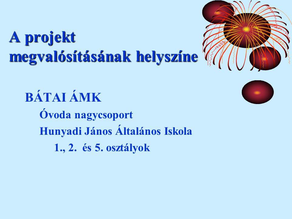 A projekt megvalósításának helyszíne BÁTAI ÁMK Óvoda nagycsoport Hunyadi János Általános Iskola 1., 2.