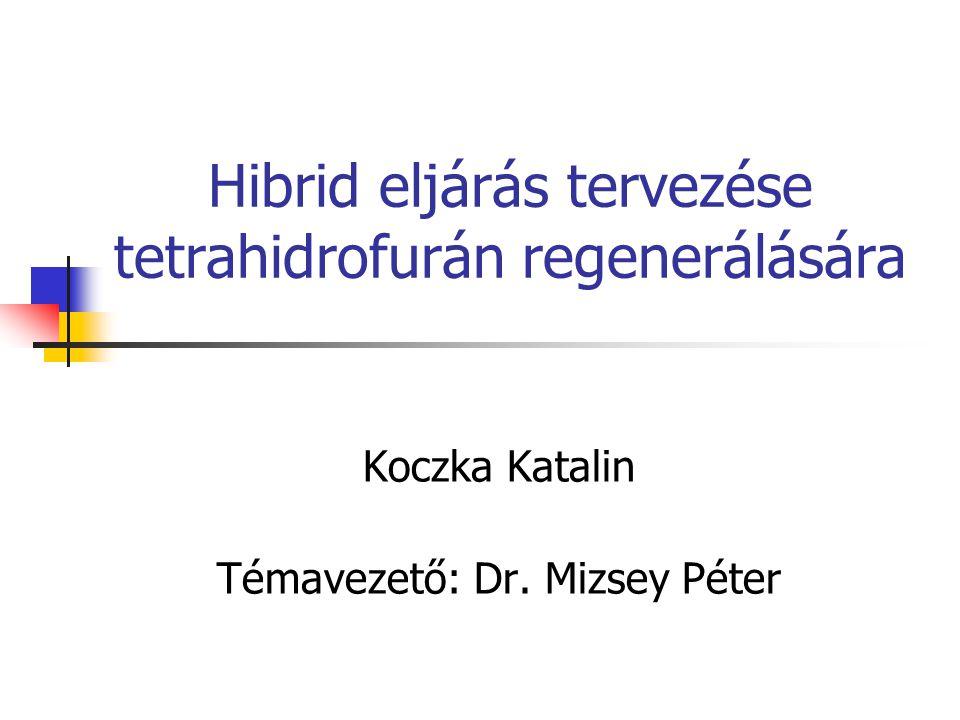 Hibrid eljárás tervezése tetrahidrofurán regenerálására Koczka Katalin Témavezető: Dr. Mizsey Péter