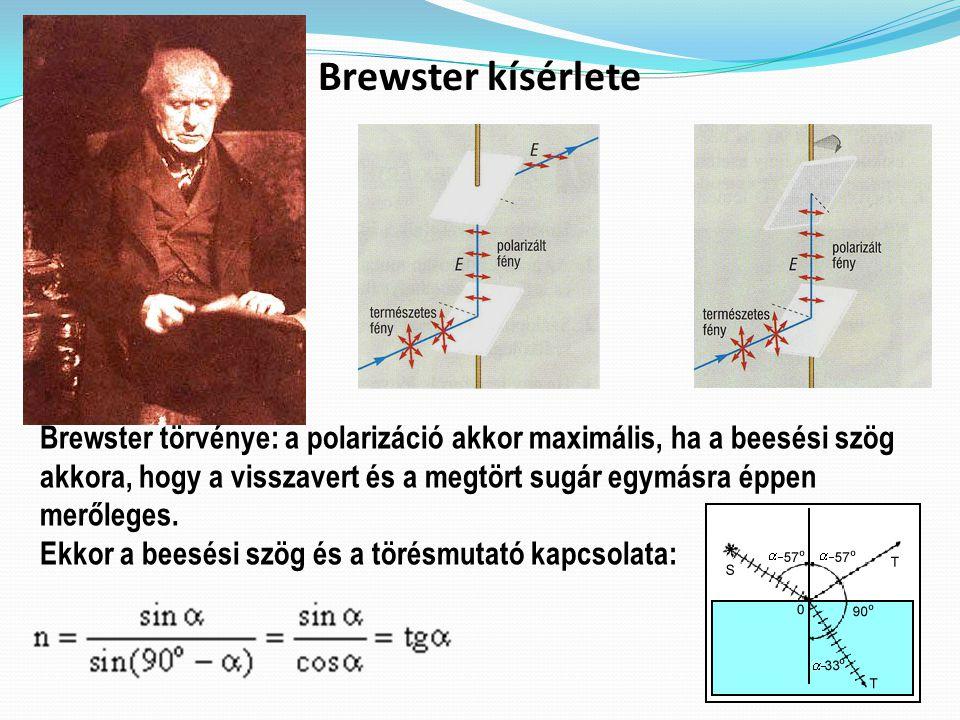 Brewster kísérlete Brewster törvénye: a polarizáció akkor maximális, ha a beesési szög akkora, hogy a visszavert és a megtört sugár egymásra éppen merőleges.