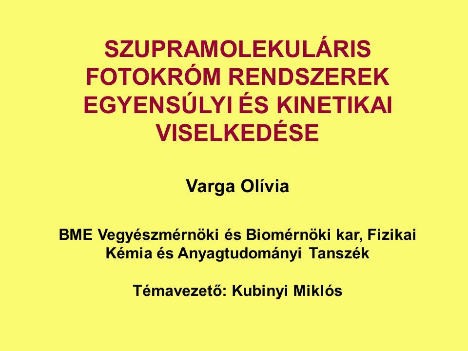 SZUPRAMOLEKULÁRIS FOTOKRÓM RENDSZEREK EGYENSÚLYI ÉS KINETIKAI VISELKEDÉSE Varga Olívia BME Vegyészmérnöki és Biomérnöki kar, Fizikai Kémia és Anyagtud