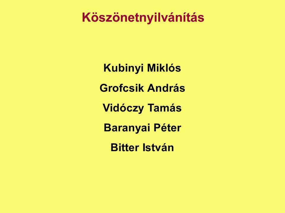 Köszönetnyilvánítás Kubinyi Miklós Grofcsik András Vidóczy Tamás Baranyai Péter Bitter István