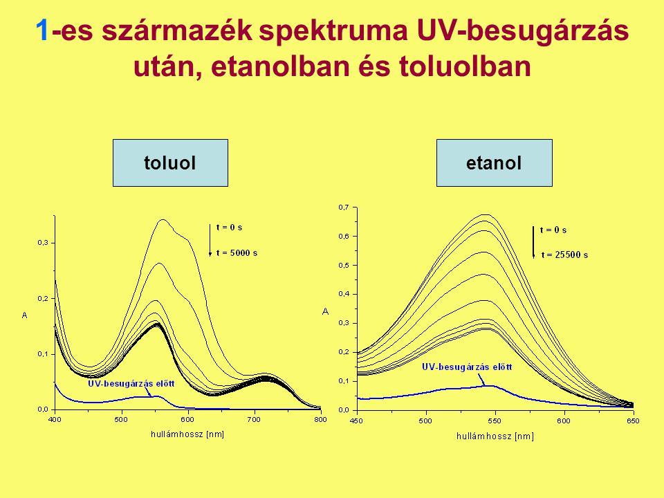 1-es származék spektruma UV-besugárzás után, etanolban és toluolban toluoletanol