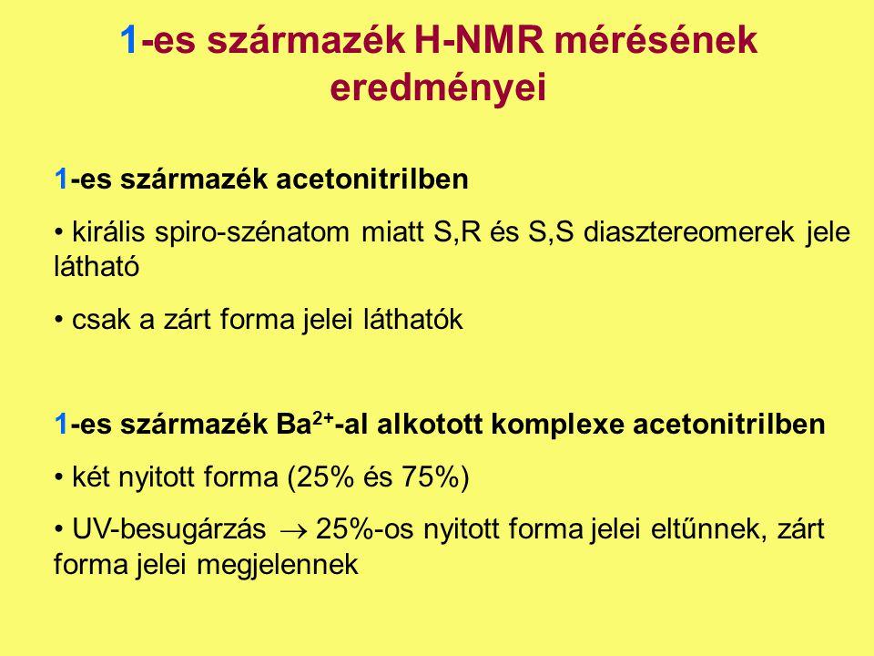1-es származék H-NMR mérésének eredményei 1-es származék acetonitrilben királis spiro-szénatom miatt S,R és S,S diasztereomerek jele látható csak a zá