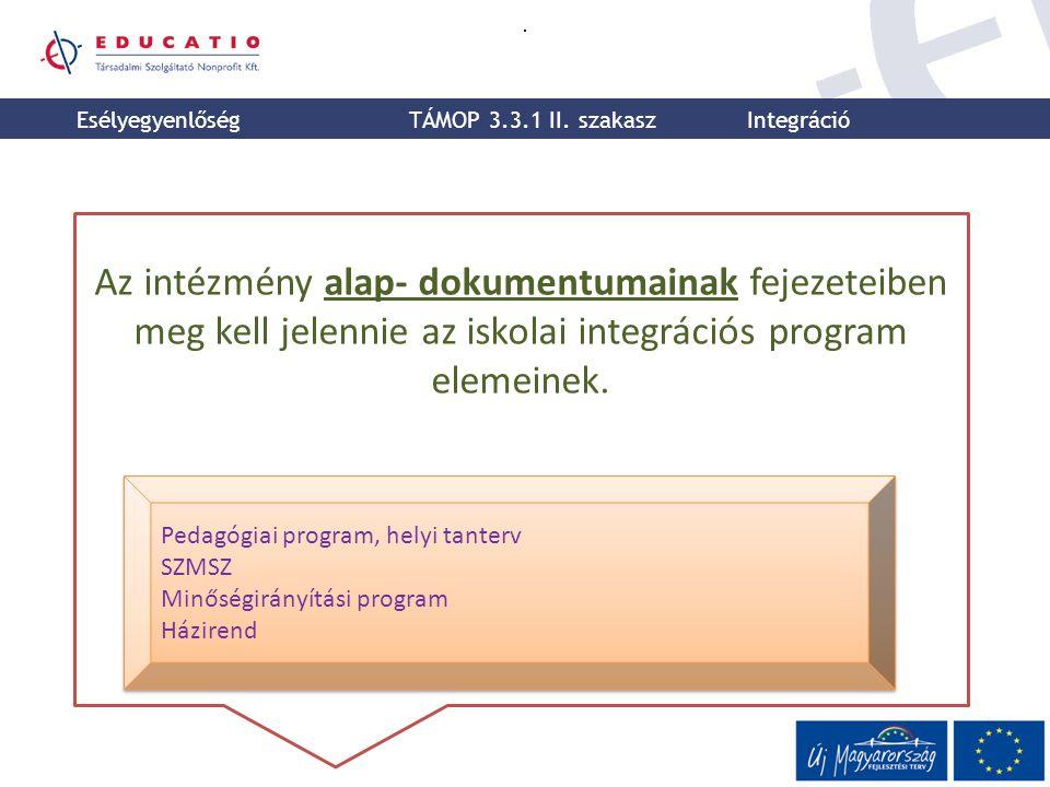 . Az intézmény alap- dokumentumainak fejezeteiben meg kell jelennie az iskolai integrációs program elemeinek. Pedagógiai program, helyi tanterv SZMSZ