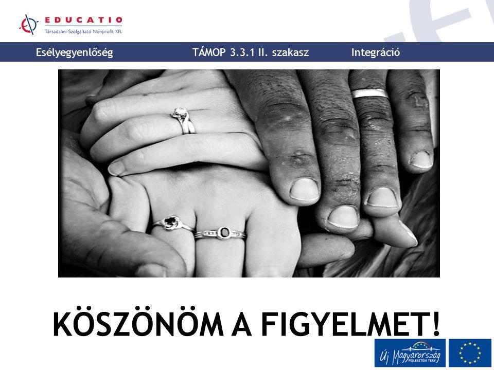 KÖSZÖNÖM A FIGYELMET! K Esélyegyenlőség TÁMOP 3.3.1 II. szakasz Integráció