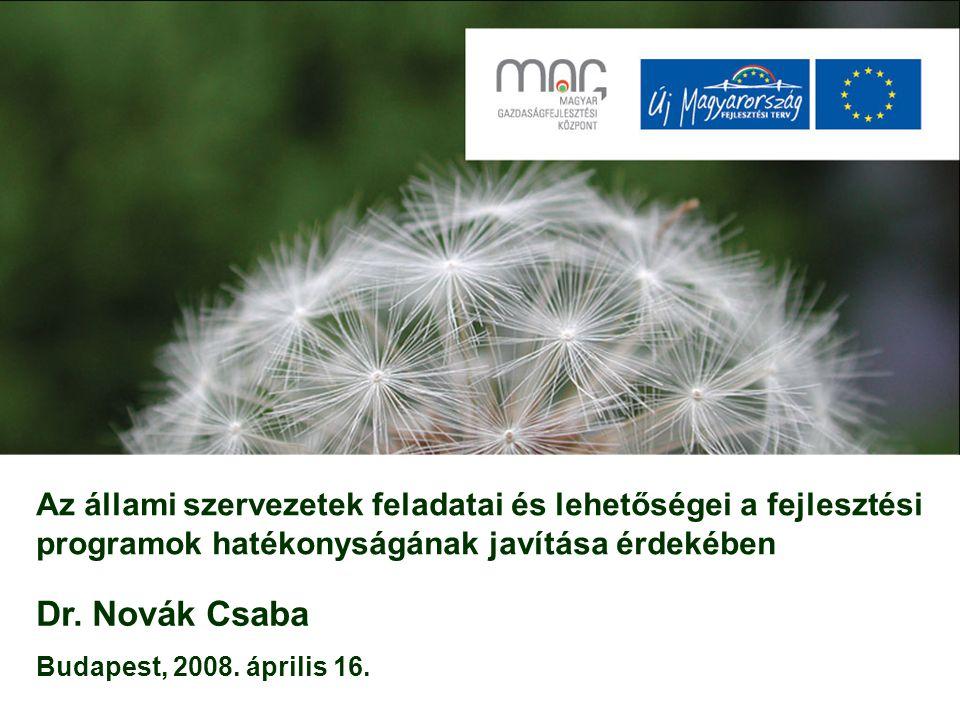 Az állami szervezetek feladatai és lehetőségei a fejlesztési programok hatékonyságának javítása érdekében Dr. Novák Csaba Budapest, 2008. április 16.