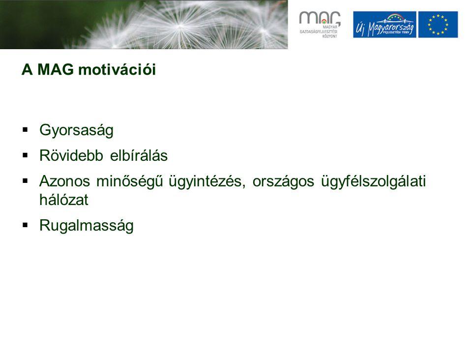 A MAG motivációi  Gyorsaság  Rövidebb elbírálás  Azonos minőségű ügyintézés, országos ügyfélszolgálati hálózat  Rugalmasság