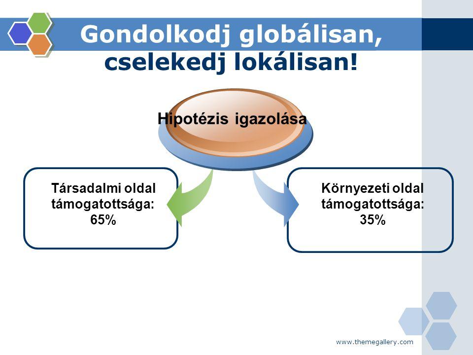 www.themegallery.com Gondolkodj globálisan, cselekedj lokálisan! Társadalmi oldal támogatottsága: 65% Hipotézis igazolása Környezeti oldal támogatotts