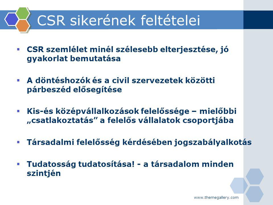 www.themegallery.com CSR sikerének feltételei  CSR szemlélet minél szélesebb elterjesztése, jó gyakorlat bemutatása  A döntéshozók és a civil szerve