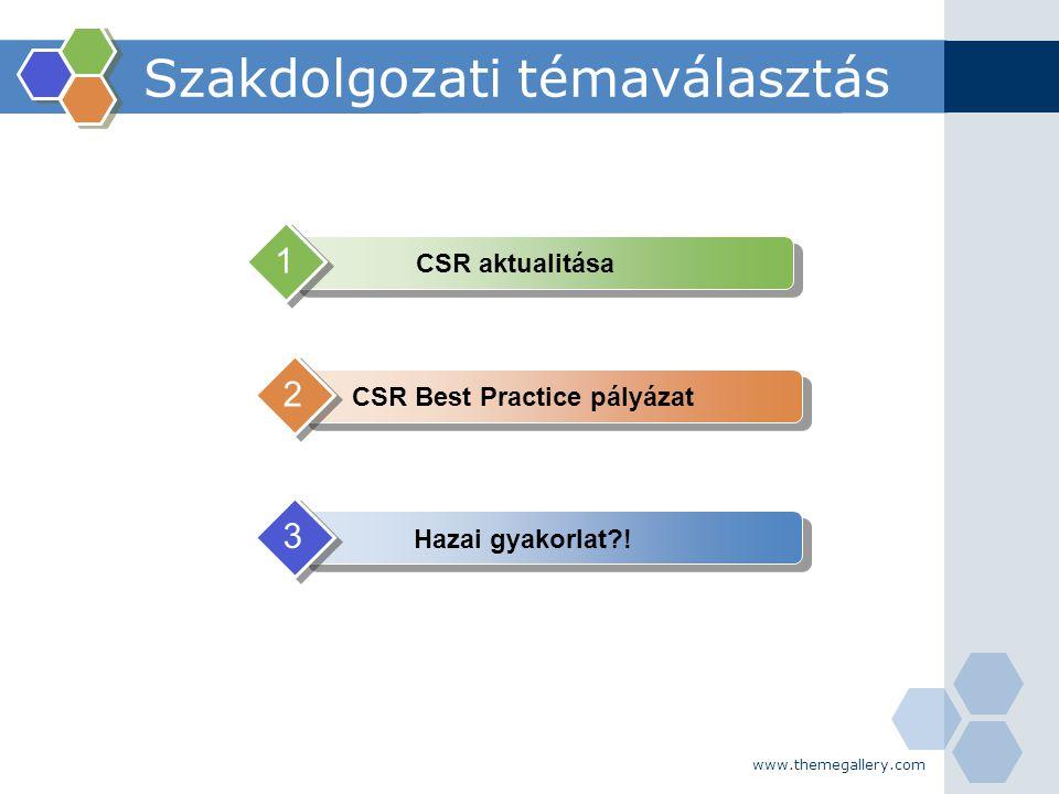 www.themegallery.com Szakdolgozati témaválasztás CSR aktualitása 1 CSR Best Practice pályázat 2 Hazai gyakorlat?! 3