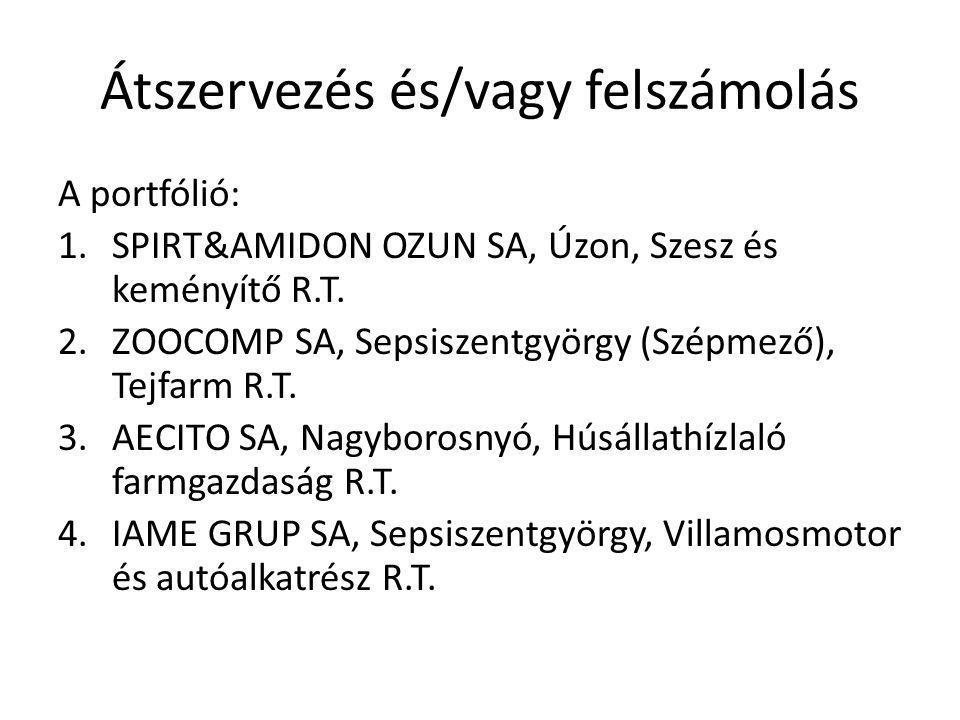 Átszervezés és/vagy felszámolás A portfólió: 1.SPIRT&AMIDON OZUN SA, Úzon, Szesz és keményítő R.T. 2.ZOOCOMP SA, Sepsiszentgyörgy (Szépmező), Tejfarm