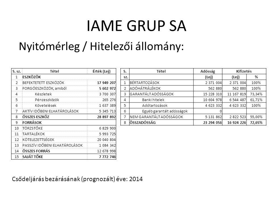 IAME GRUP SA Nyitómérleg / Hitelezői állomány: S. sz.TételÉrték (Lej) 1ESZKÖZÖK 2BEFEKTETETT ESZKÖZÖK17 949 207 3FORGÓESZKÖZÖK, amiből5 602 972 4Készl